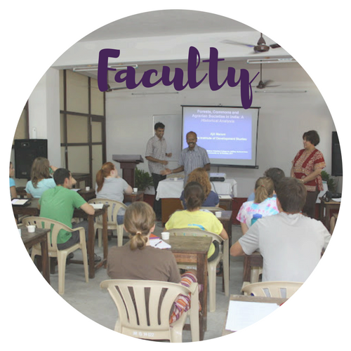 Faculty teaching Furman students in a classroom on the India Semester Study Away program